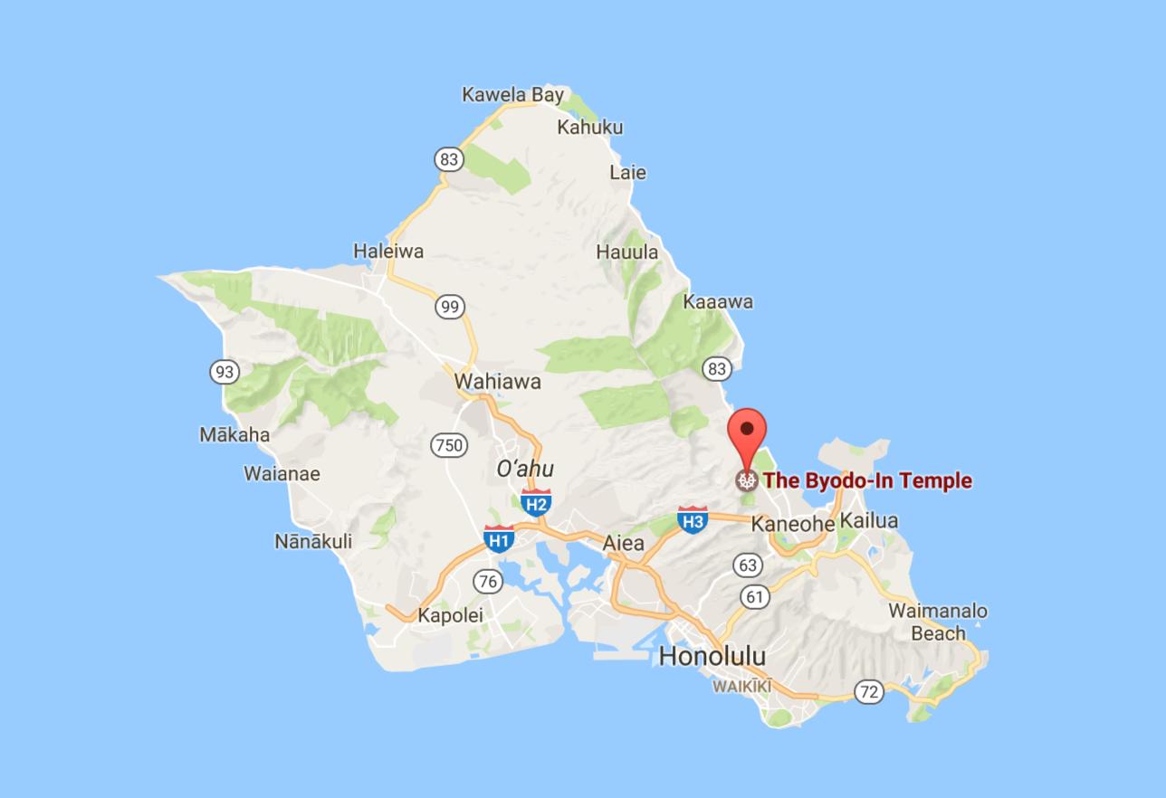 mapa Byodo-In temple, Havaj